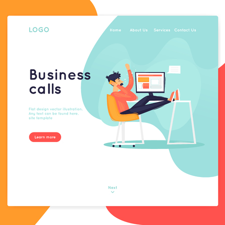 Site template, Business calls, conversations, consultation. Web page design. Website and mobile development. Flat vector illustration in cartoon style. Иллюстрация