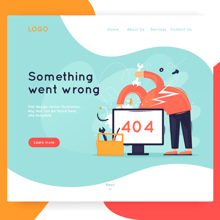 Site template, error, 404. Web page design. Website and mobile development. Flat vector illustration in cartoon style. Illustration