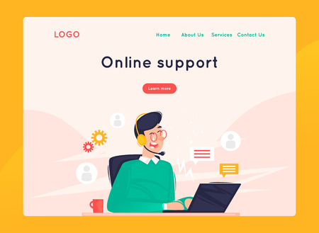 Site template, Online support, 24 hours, man answers questions. Web page design. Website and mobile development. Flat vector illustration in cartoon style. Foto de archivo - 112874100