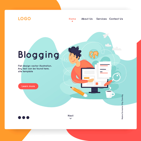 Site template, Blogging, writer. Web page design. Website and mobile development. Flat vector illustration in cartoon style. Illustration