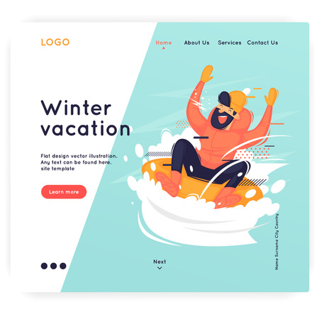 Site template, Winter, sports, holidays. Web page design. Website and mobile development. Flat vector illustration in cartoon style. Ilustrace
