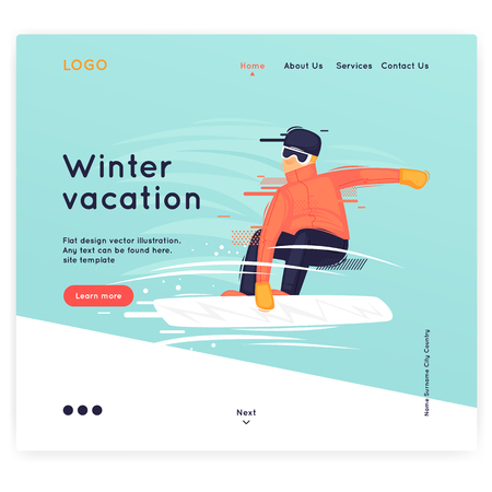 Site template, Winter, sports, holidays. Web page design. Website and mobile development. Flat vector illustration in cartoon style. 向量圖像