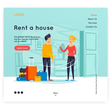 Site-Vorlage, Haus mieten, mieten, reisen, Urlaub. Gestaltung von Webseiten. Website- und Mobile-Entwicklung. Flache Vektorillustration im Cartoon-Stil.