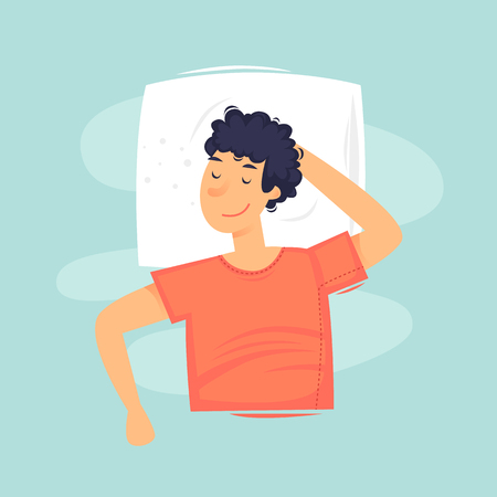 Man sleeps on the pillow. Flat vector illustration in cartoon style. Illustration