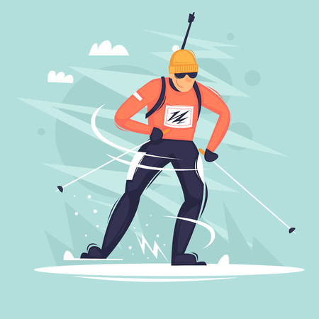 Biathlon, a man riding on skis. Winter, sports, holidays. Flat vector illustration in cartoon style.
