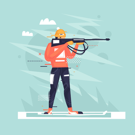 Biathlon, athlete shoots, winter, sport. Flat vector illustration in cartoon style. Ilustração
