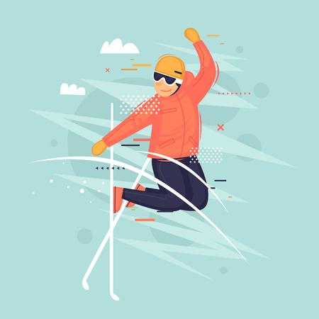Freestyle, esquí, invierno. Ilustración de vector plano en estilo de dibujos animados. Ilustración de vector