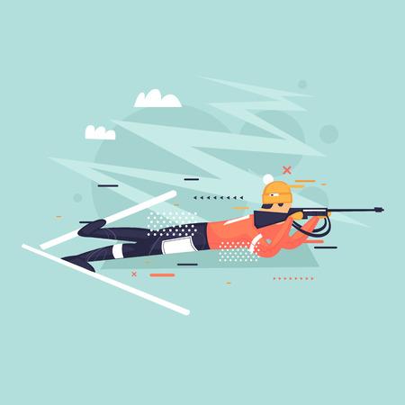 Biathlon, athlete shoots, winter, sport. Flat vector illustration in cartoon style. Illustration