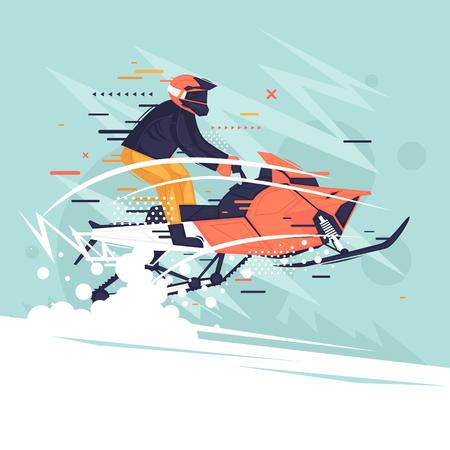 Mann, der ein Schneemobil fährt, Winter. Flache Vektorillustration im Cartoon-Stil. Vektorgrafik