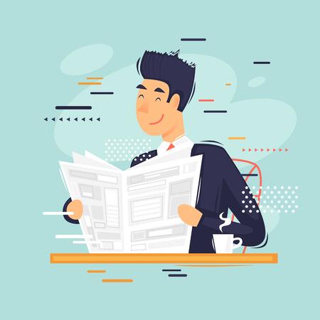 Hombre de negocios leyendo un periódico, café de la mañana. Ilustración de vector plano en estilo de dibujos animados.
