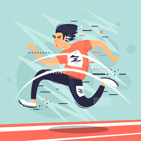 Running, man running distance, competition, athletics. Flat vector illustration in cartoon style.