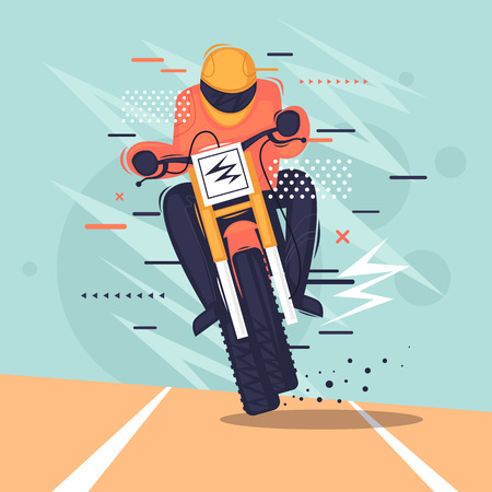 Motocross racer rides a motorcycle. Flat vector illustration in cartoon style. Illustration
