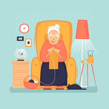 Grootmoeder zit in een stoel breit, gepensioneerde, interieur. Platte vectorillustratie in cartoon-stijl.