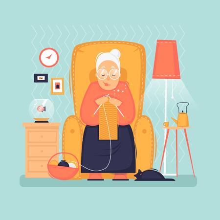 La abuela se sienta en una silla teje, pensionista, interior. Ilustración de vector plano en estilo de dibujos animados.