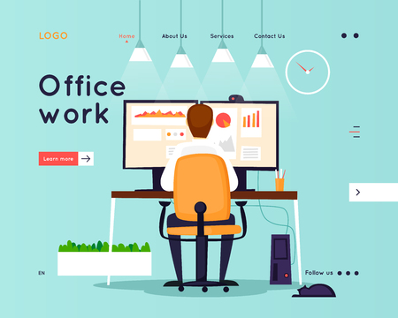 Website Template. Business workflow management. Office life, business, programmer. Data analysis. Landing page. Flat design vector illustration 일러스트