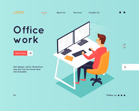 Website Template. Business workflow management. Office life, business, programmer. Data analysis. Landing page. 3D. Flat design vector illustration