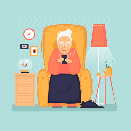 Grandmother sits with the phone. Interior. Internet, modern old people, pensioners. Flat design vector illustration Banco de Imagens - 114938018