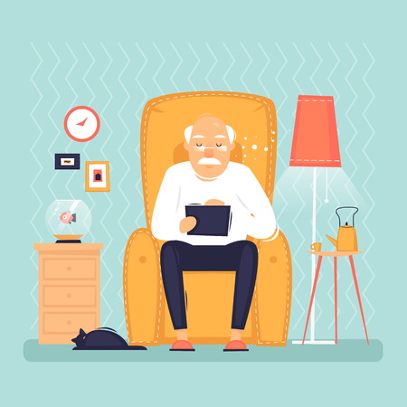 Grandfather is sitting with a tablet. Interior. Internet, modern old people, pensioners. Flat design vector illustration