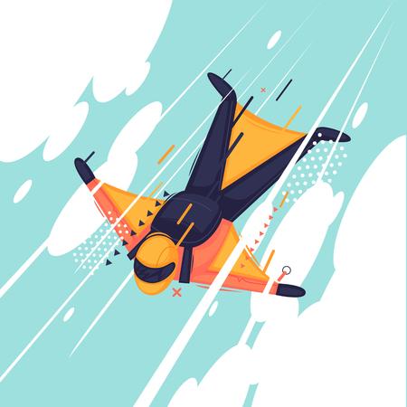 Skydiving. Flat design vector illustration Illustration