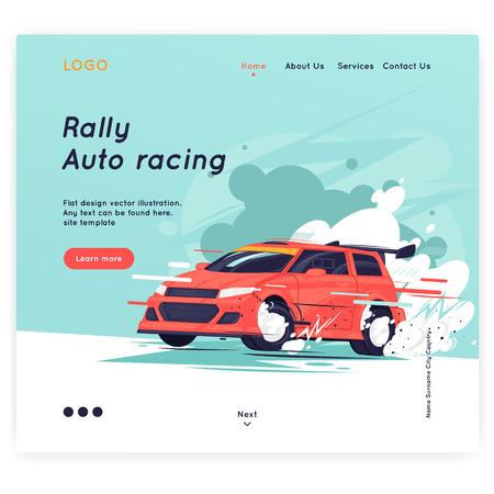 Rally, sport, competitie. Platte ontwerp vectorillustratie.