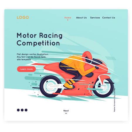 Website Template. motorcycle racing, sport, competition. Flat design vector illustration.