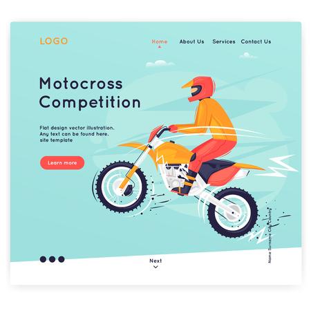 Website Template. Motocross, sport. Flat design vector illustration Ilustração