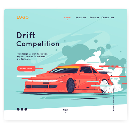 Site template. Drift, the car rides sideways. Flat design vector illustration.