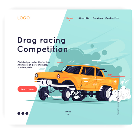 Website Template. Gasser. Flat design vector illustration.