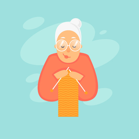 Grandmother knits. Flat design vector illustration 矢量图像