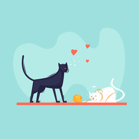 Cats play with a ball of yarn, pets. Flat design vector illustration Illustration