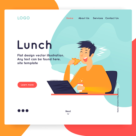 Website Template. Lunch at the workplace. Business workflow management. Office life, business, programmer. Data analysis. Landing page. Flat design vector illustration. Banque d'images - 114938048