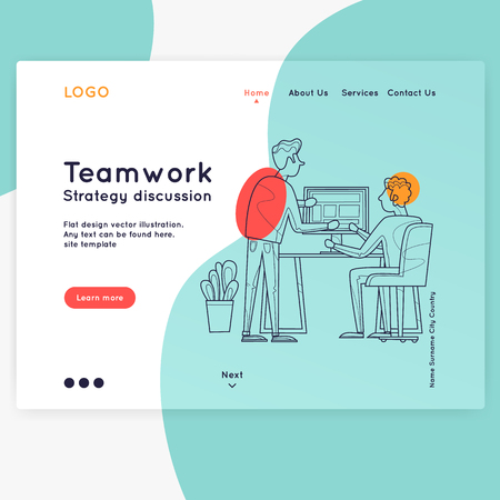 Landing page. Website Template. Teamwork, about us. Business workflow management. Office life, programmer. Data analysis. Brainstorming, meeting. Thin line. Flat design vector illustration