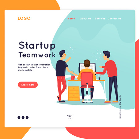 Landing page. Website Template. Teamwork, about us. Business workflow management. Office life, business, programmer. Data analysis. Brainstorming, meeting. Flat design vector illustration Stock Illustratie