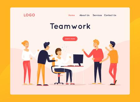 Landing page. Website Template. Teamwork, about us. Business workflow management. Office life, business, programmer. Data analysis. Brainstorming, meeting. Flat design vector illustration Ilustração