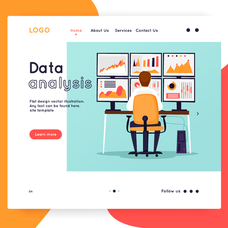 Website Template. Business workflow management. Office life, business, programmer. Data analysis. Landing page. Flat design vector illustration Stock fotó - 114938702