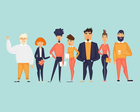 Business characters, team, about us. Flat design vector illustration 写真素材 - 118849217