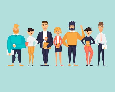 Business characters, team, about us. Flat design vector illustration 写真素材 - 118849218