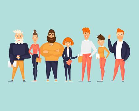 Personajes de negocios, equipo, sobre nosotros. Ilustración de vector de diseño plano Ilustración de vector
