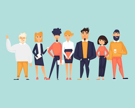 Personajes de negocios, equipo, sobre nosotros. Ilustración de vector de diseño plano