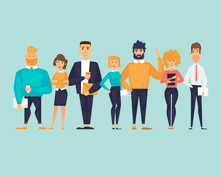 Business characters, team, about us. Flat design vector illustration