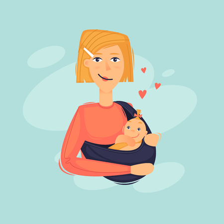 Woman carries a baby in a sling. Flat design vector illustration