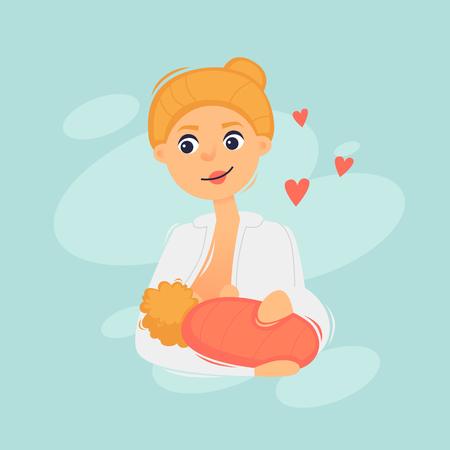 Woman breastfeeding. Flat design vector illustration