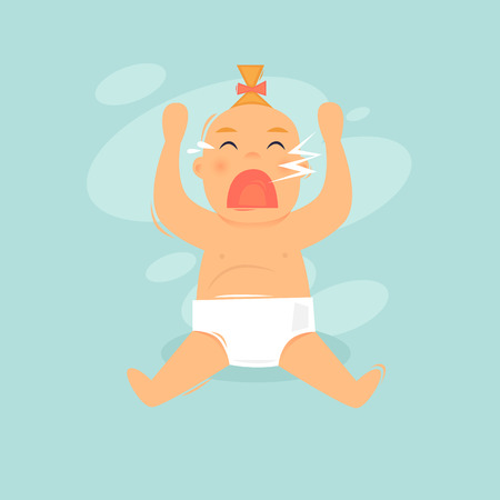 Baby is crying. Flat design vector illustration