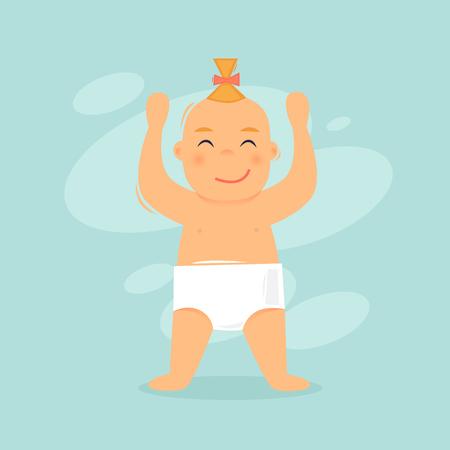 Child rejoices. Flat design vector illustration