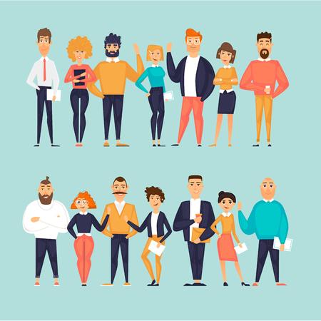Personnages d'affaires, équipe, à propos de nous. Illustration vectorielle design plat Vecteurs
