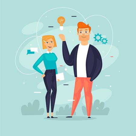 Teamwork, Start-up, Business, Büroleben. Flache Designvektorillustration. Vektorgrafik