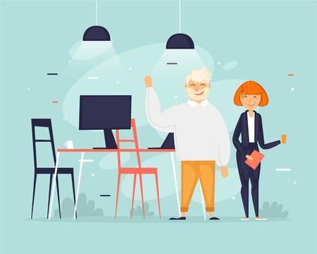Teamwork, start-up, business, office life. Flat design vector illustration.