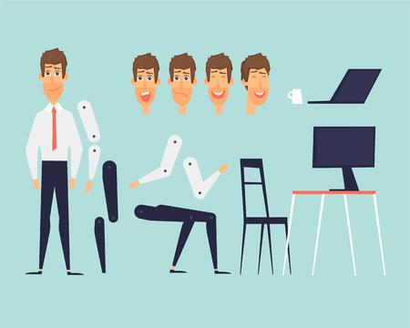 Cartoon character animation. Business. Flat design vector illustration.