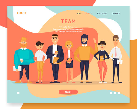 Business characters, team, about us. Site template. Web page design. Website and mobile development. Flat design vector illustration