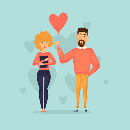 Lovers February 14th. St. Valentines Day. Guy gives a ball, a couple. Flat design vector illustration. Illustration